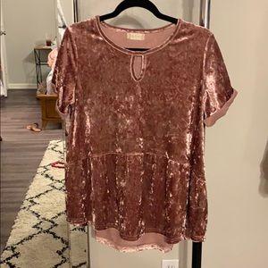 crushed velvet peplum top in blush